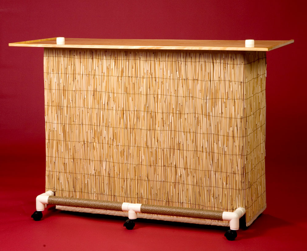 Tiki Bar Features - Natural Reed Bar Skirt with Vinyl Backing
